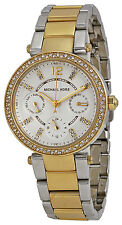 Michael Kors MK6055 Mini Parker White Dial Two Tone Stainless Women's Watch