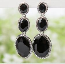 FACETED BLACK TRIPLE OVAL ACRYLIC & DIAMANTE RHINESTONE CRYSTALS DROP EARRINGS