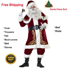 Christmas 9pcs Santa Claus Suit Mens Father Xmas Fancy Costume FREE SHIPPING