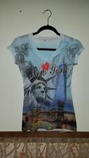 Miss Posh Women's New York NYC NY Rhinestone T-Shirt V Neck Med freedom tower