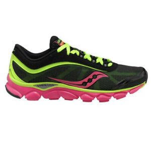 Saucony Womens 10 Grid Virrata Running Shoes Trail Sneakers Black Neon 10175-1