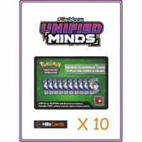 Unified Minds Codes x 10   Pokemon Online Booster Pack Code Card TCGO Sun & Moon
