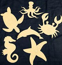 Wooden Cutout, Embellishments -Sealife, Fish Craft Shapes - x 6, 3mm Mdf