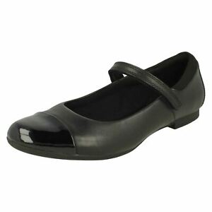 Girls Clarks Mary Jane Style Hook & Loop Leather School Shoes Scala Gem Y