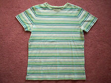 Women's top t-shirt by Studio Works Small stripes green white 100% cotton