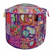 Ethnic Patchwork Round Pouf Cover Foot Stool Moroccan Pouffe Cover Ottoman Decor