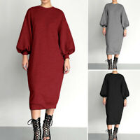 ZANZEA Women Lantern Sleeve Shirt Dress Sweatshirt Shirt Dress Midi Dress Plus