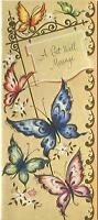 VINTAGE GARDEN FLOWERS BUTTERFLIES GREETING CARD PRINT 1 CHRISTMAS TOY SHOP CARD