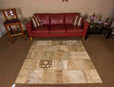 Handmade Made with Old Carpets Nomadic Rug Patchwork Oushak Area Beige Rug 5x6ft