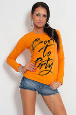 "Sexy Top Blouse ""Born To Party"" Jumper Trendy Colors One Size 8-10-12 FB01"