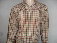 vtg MONTGOMERY WARD PEARL SNAP WESTERN SHIRT Burgundy Piping 70's 80's M