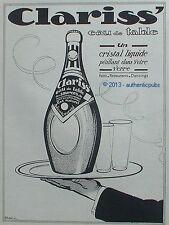 PUBLICITE CLARISS' EAU DE TABLE HOTEL RESTAURANT DANCING SIGNE FARCY DE 1924 AD