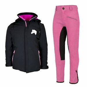 Kinder Reitset Lea Softshell-Reitjacke mit Reithose pink/schwarz MS-Trachten