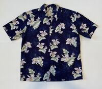 Aloha Republic Men's Aloha Hawaiian Button Down Shirt Blue Floral Size XL USA