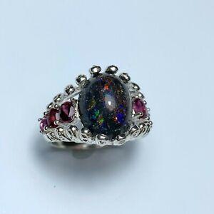 6.2ct Natural Australian Andamooka matrix Opal 925 silver 9ct 14k 18k Gold ring