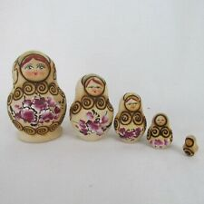 5pc Russian Nesting Dolls Floral Wood Burned Leaves Swirls 3in Tall Gold