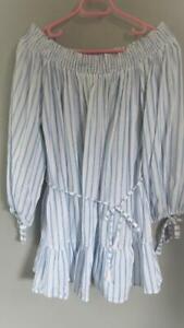 FAITHFULL THE BRAND - lovely boho off the shoulder, striped dress - size 10