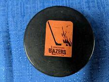 VINTAGE WHA BILTRITE DAVIDSON REVERSE VANCOUVER BLAZERS B2 SLUG GAME PUCK 73-74