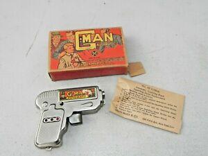 Louis Marx 1930s G MAN No 85 Wind Up Sparkling Pistol w Box  working