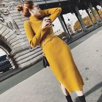 Womens Autumn Winter High Neck Belt Knit Sweater Slit Sheath Shift Bodycon Dress