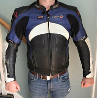 Mens Leather RST Motorcycle Jacket - Size 44 - Some Scuffs But All Intact
