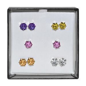Silvertone Surgical Steel Multicolor 5-mm Cubic Zirconia Stud Earring Gift Set