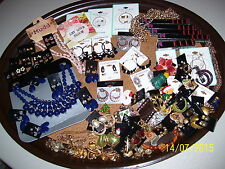 LOT OF MAKEUP & JEWELRY, ELLE, LIPLINER, NECKLACES, PINS, EARRINGS, BLUE LA RUE