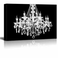 "wall26 - Canvas - Crystal White Chandelier on Black Background - 32""x48"""
