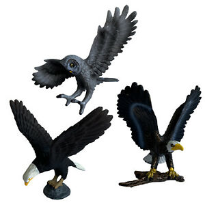 Set of 3 Realistic Birds Figurines 2 x American Pride Bald Eagles + Owl Kids Toy