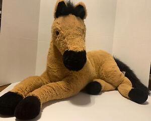 Dan Dee Stuffed Plush Horse Pony Light Brown Black Mane Large Soft Animal pillow
