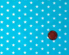 TURQUOISE WITH WHITE 7MM STARS - COTTON FQ'S