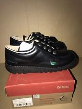 Kickers Kick Lo Black Leather Lace Up School Work Shoes UK 5 EUR 38