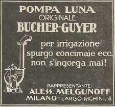 W6174 Pompa LUNA per irrigazione - Bucher-Guyer - Pubblicità 1934 - Advertising
