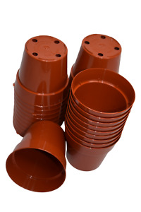 "3"" Brown Hard Plastic Nursery Pots (set of 30) Greenhouse Flower succulent- KOBA"