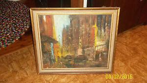 "Vintage Mid Century Original Oil Painting - """"Kings Cross Street"""" M YOUNG"