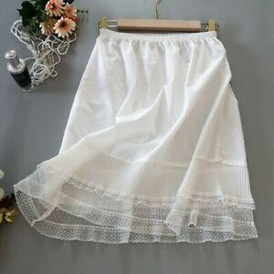 Lady Lace Splice Petticoat Skirt Pleated Half Slips Underskirt Ruffles Fairy New
