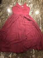Dress the Population Alicia Plunging Sleeveless Fit & Flare,Burgundy,M, MSRP$198