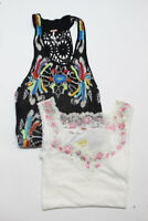 Free People Womens Floral Print Tank Tops Black White Size Small Lot 2