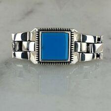 Handgefertigt Türkis Edelstein 925 Sterling Silber Mens Ring All Größe
