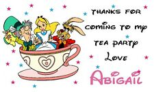112 - 21 Thanks for Alice Mad Hatter tea party Personalised Bag Stickers Labels