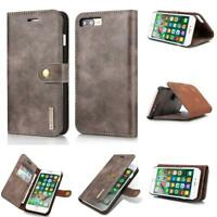 Genuine Leather Case for iPhone 7 8 Plus Cowhide Detachable Wallet Folio Flip