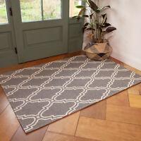 Grey Trellis Flatweave Rug Moroccan Recycle Cotton Living Room Hall Runner Rugs