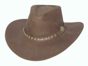 NEW TIMBER MOUNTAIN Brown Leather Outback Western Cowboy Hat Bullhide MonteCarlo