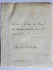 Mr Mme Jules BONNET Faire Part Naissance de leur FILS Lucien 1860 genealogie