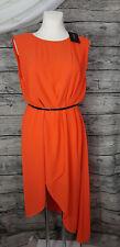 Apart Abendkleid Hummer Orange Größe 42 Chiffon Asymetrisch mit Gürtel Neu