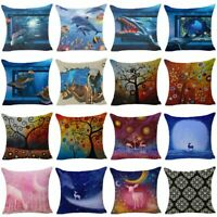 3D/Oil Painting Linen Cushion Cover Throw Waist Pillow Case Sofa Bed Home Decor