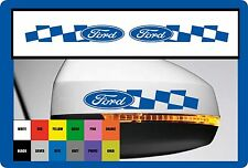 2 x Car `Ford checks`with Logo for wing mirrors or Bodywork -Decal Sticker