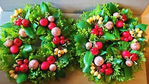 """Vtg Japan Mid Century Plastic Christmas Candle Wreath Pair 12"""" Holiday 1950'S"""