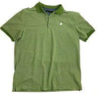 Banana Republic men's green golf polo shirt size XL short sleeve white stripes