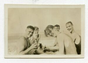 # 7 VINTAGE PHOTO AFFECTIONATE SWIMSUIT BUDDY BOYS MEN AT THE BEACH SNAPSHOT GAY